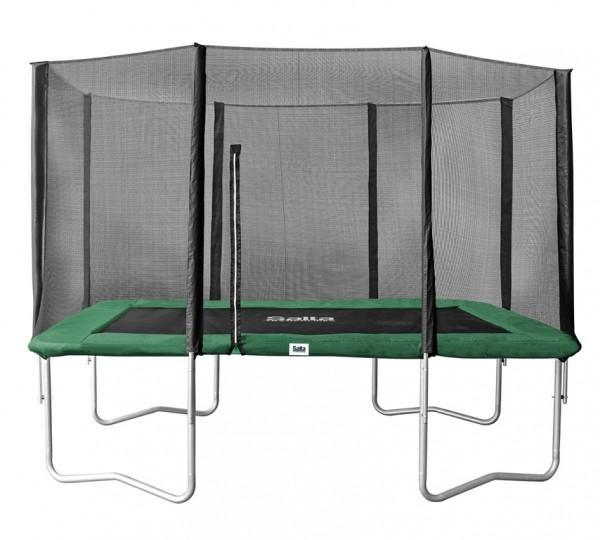 Salta Trampolin eckig 1,53 x 2,14m, grün Combo mit Fangnetz, Schutzrand bis 100 kg belastbar. Salta Trampoline Combo - rechteckig - 153x214cm - Schutzrand Grün - Trampolin mit Sicherheitsnetz