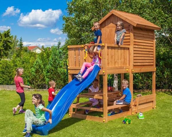 Spielturm My House Free Time Beach mit Picknicktisch, Sandkastenabdeckung, Rutsche, Haus mit Holzdac