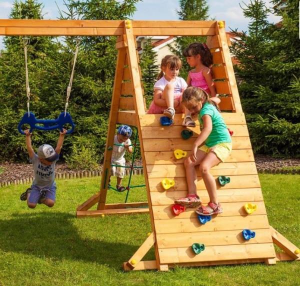 Kletterturm Anbau mit Schaukel und Kletternetz für Spielturm